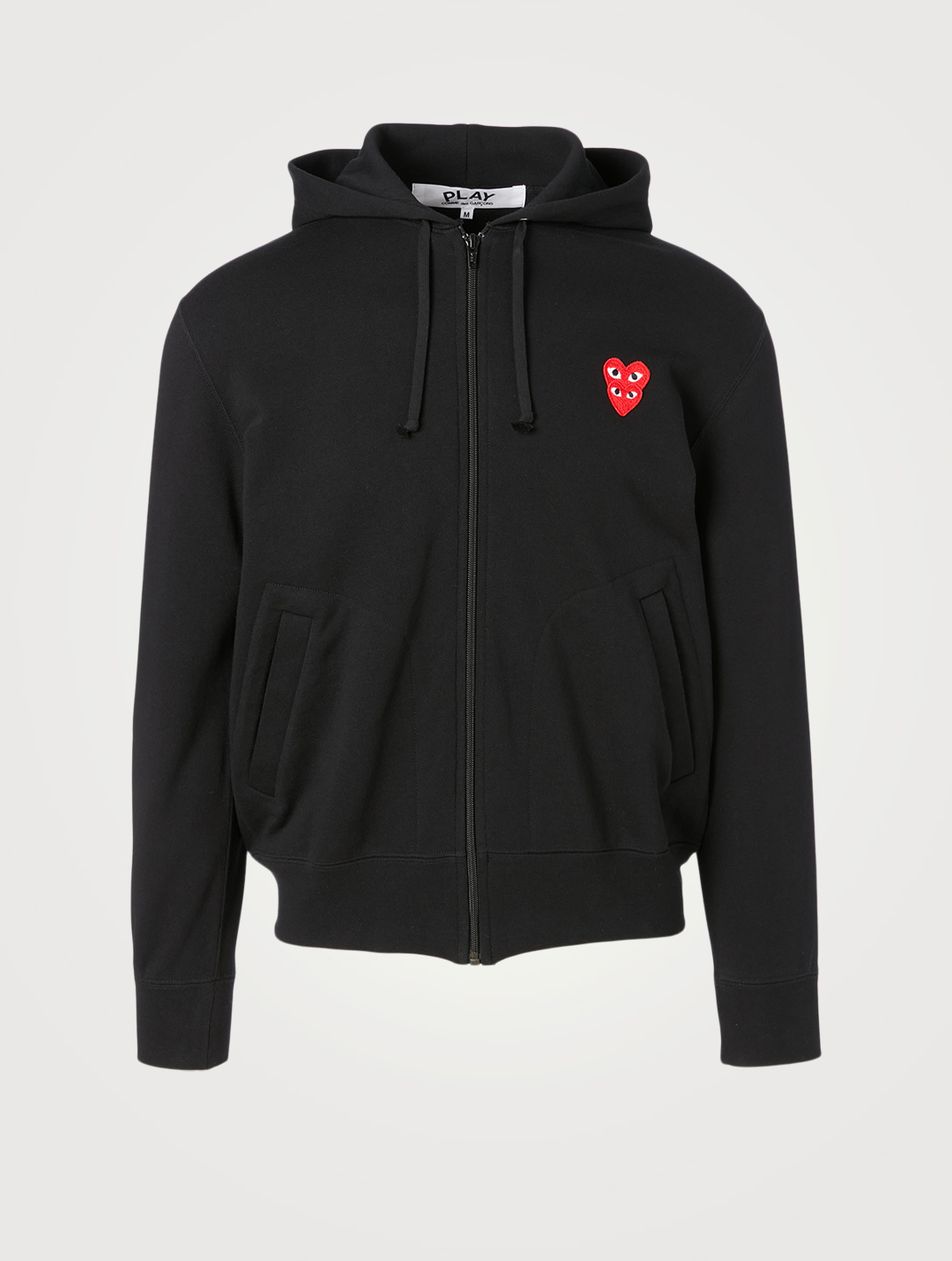 COMME DES GARÇONS PLAY Cotton Zip Hoodie With Overlapping Heart Men's Black