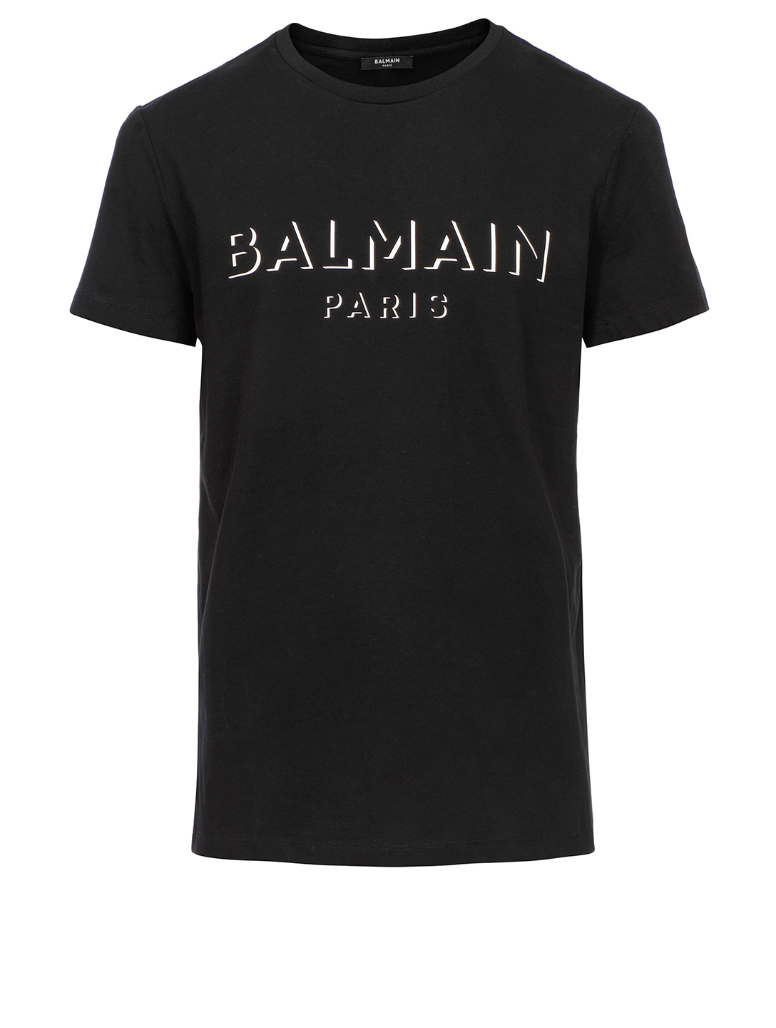 BALMAIN Cotton T-Shirt With 3D Effect Logo Men's Black