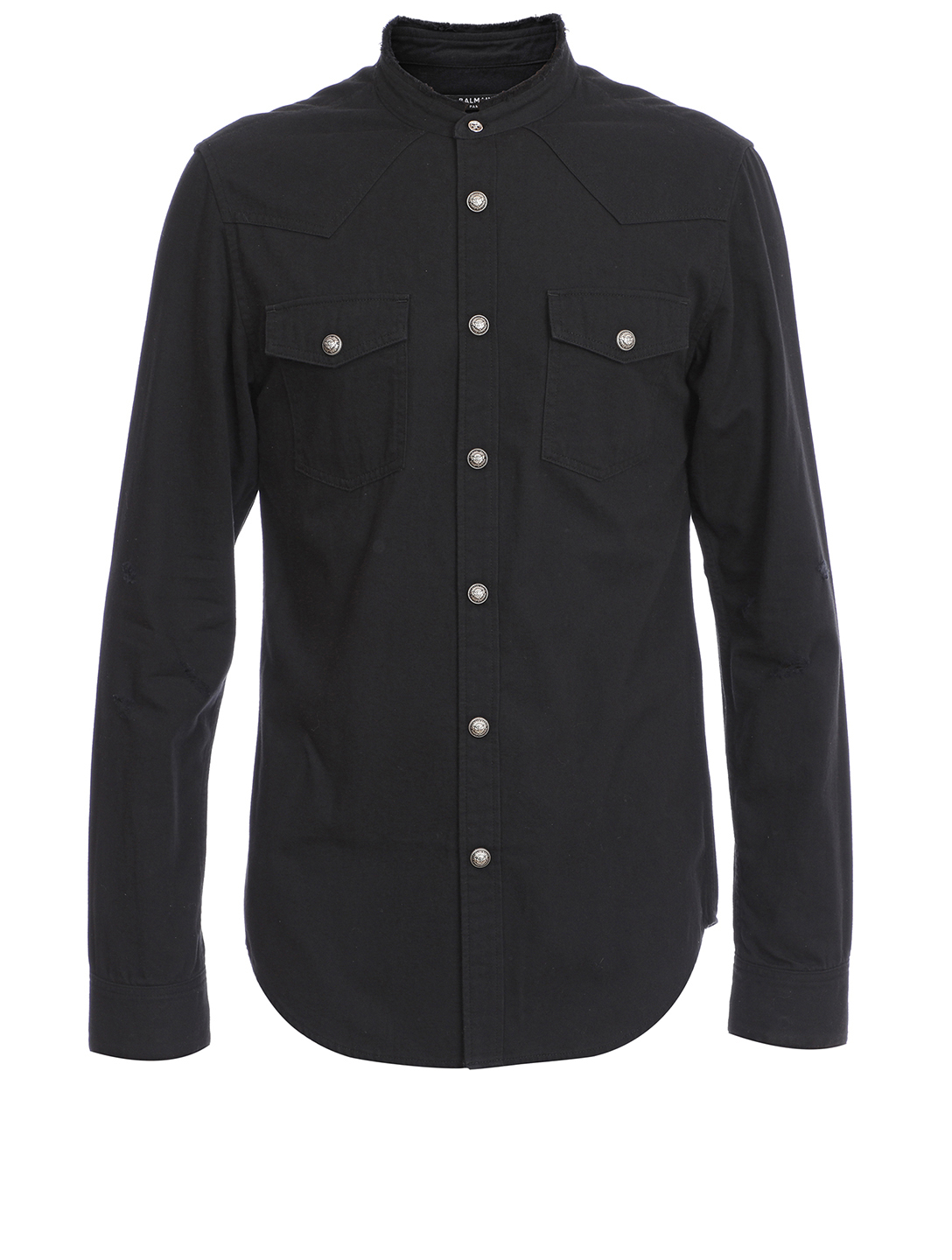 BALMAIN Denim Shirt With Flocked Logo Men's Black