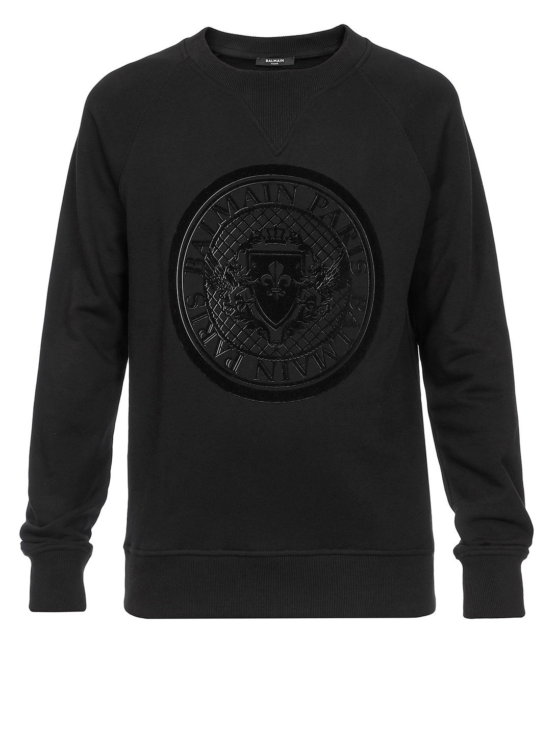 BALMAIN Cotton Sweatshirt With Flocked 3D Coin Men's Black