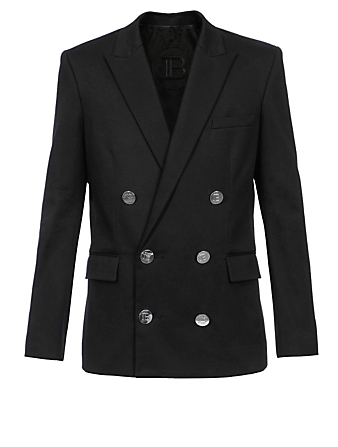 BALMAIN Cotton Stretch Double-Breasted Jacket Men's Black