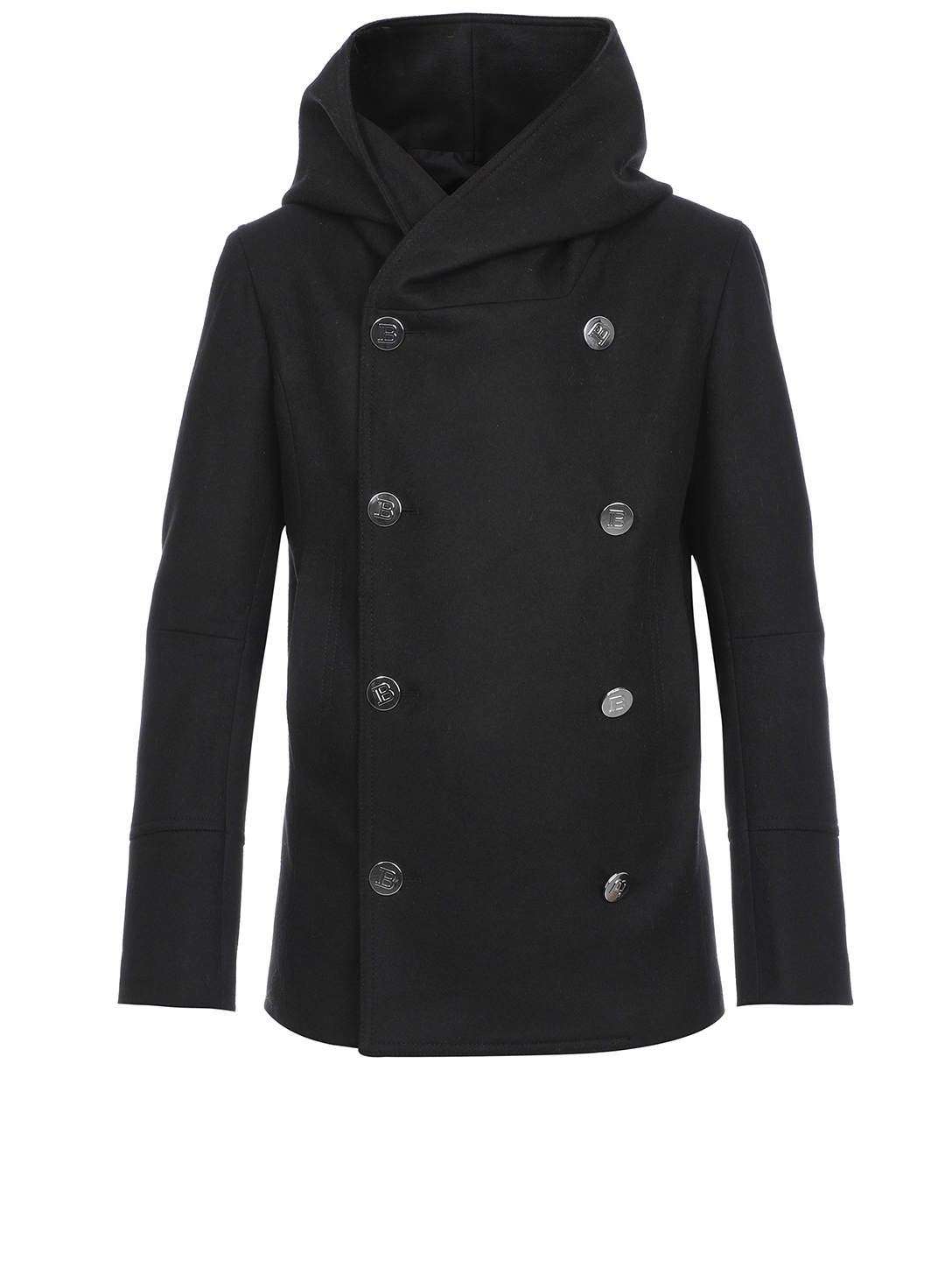 BALMAIN Wool-Blend Double-Breasted Pea Coat With Hood Men's Black