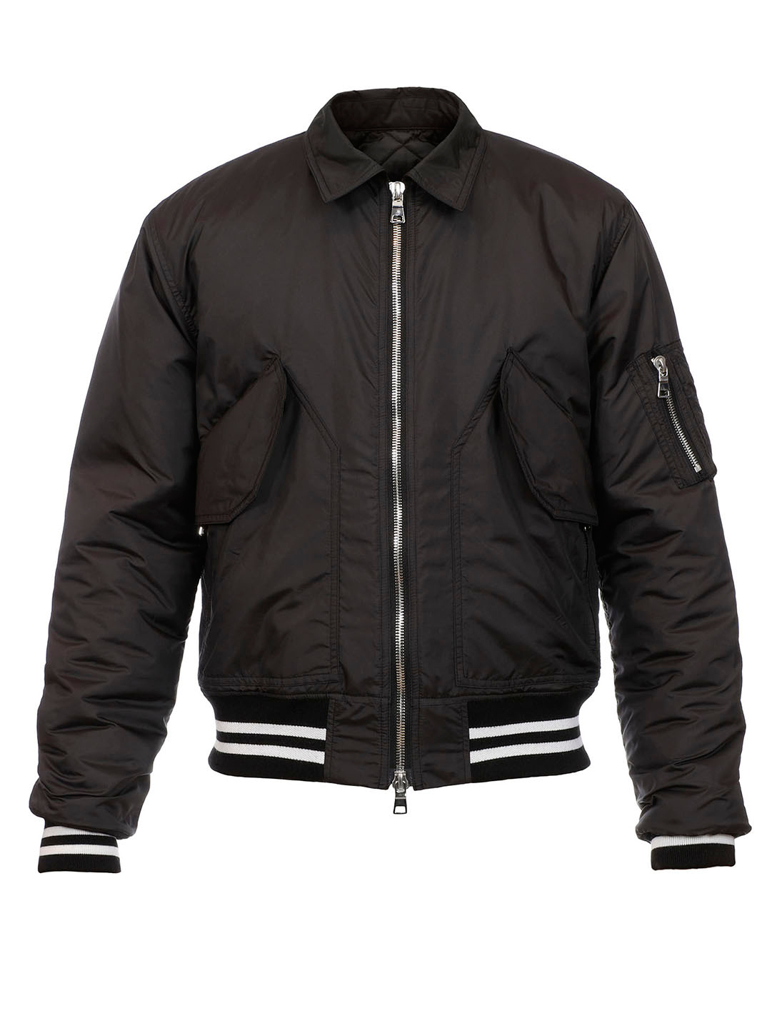 BALMAIN Bomber Jacket With Collar Men's Black