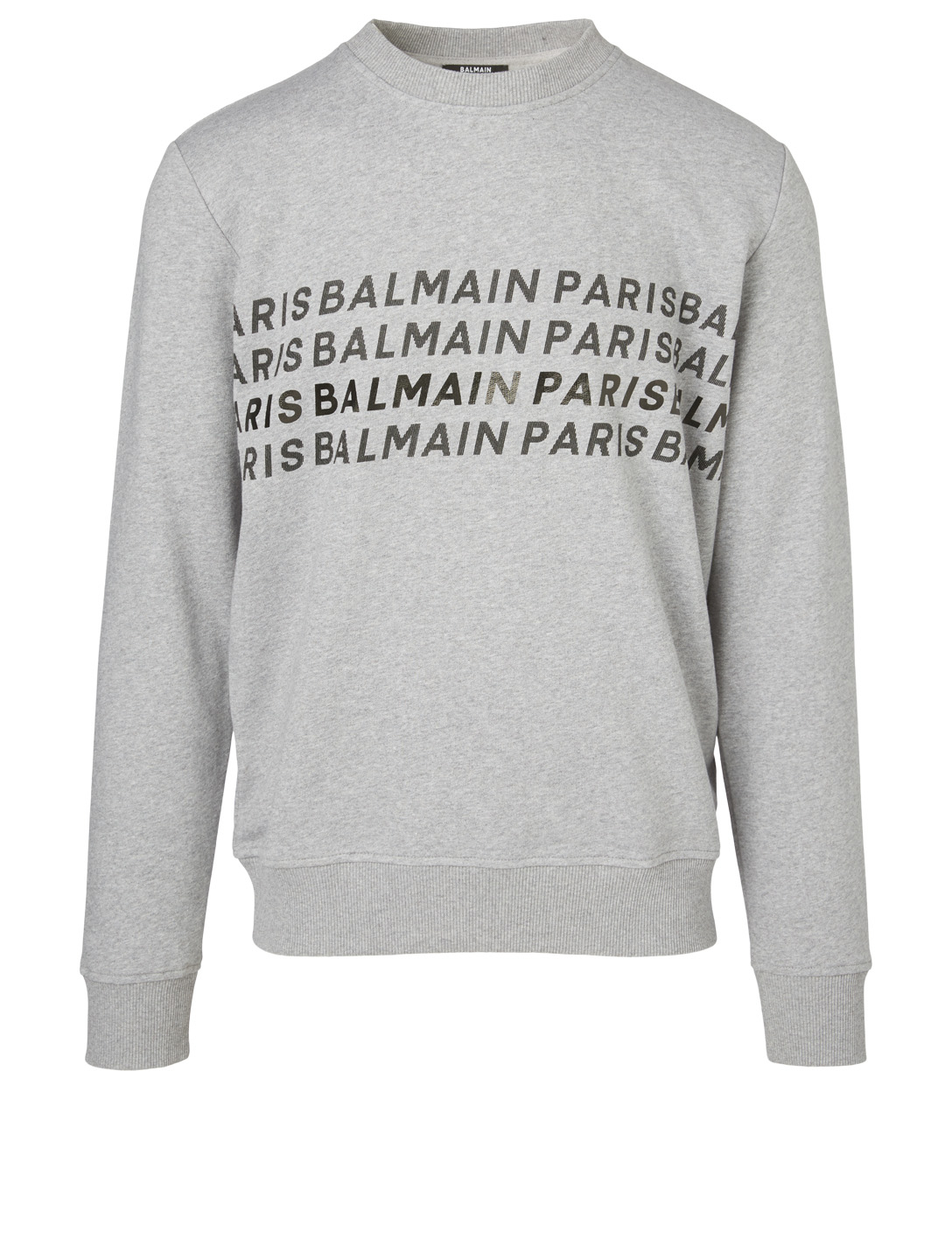 BALMAIN Cotton Sweatshirt With Foil Logo Men's Grey