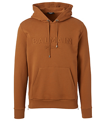 BALMAIN Cotton Hoodie With Embossed Logo Men's Beige