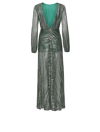 ROTATE BIRGER CHRISTENSEN Lisa Lurex Maxi Dress Women's Green