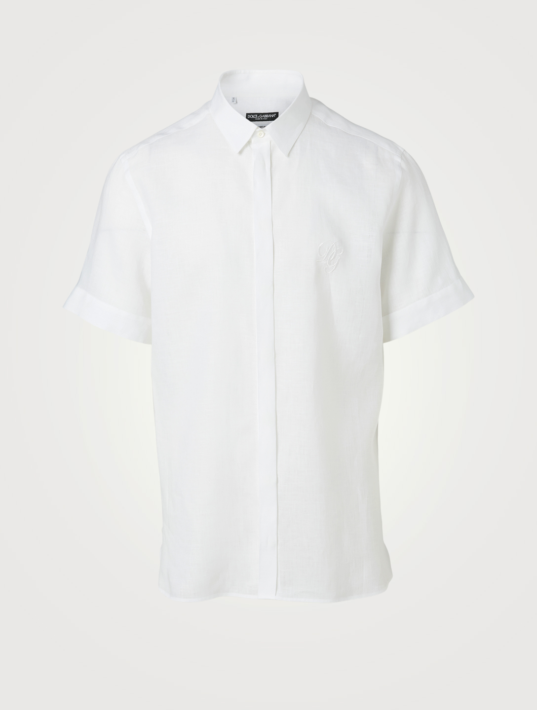 DOLCE & GABBANA Linen Short-Sleeve Shirt Men's White