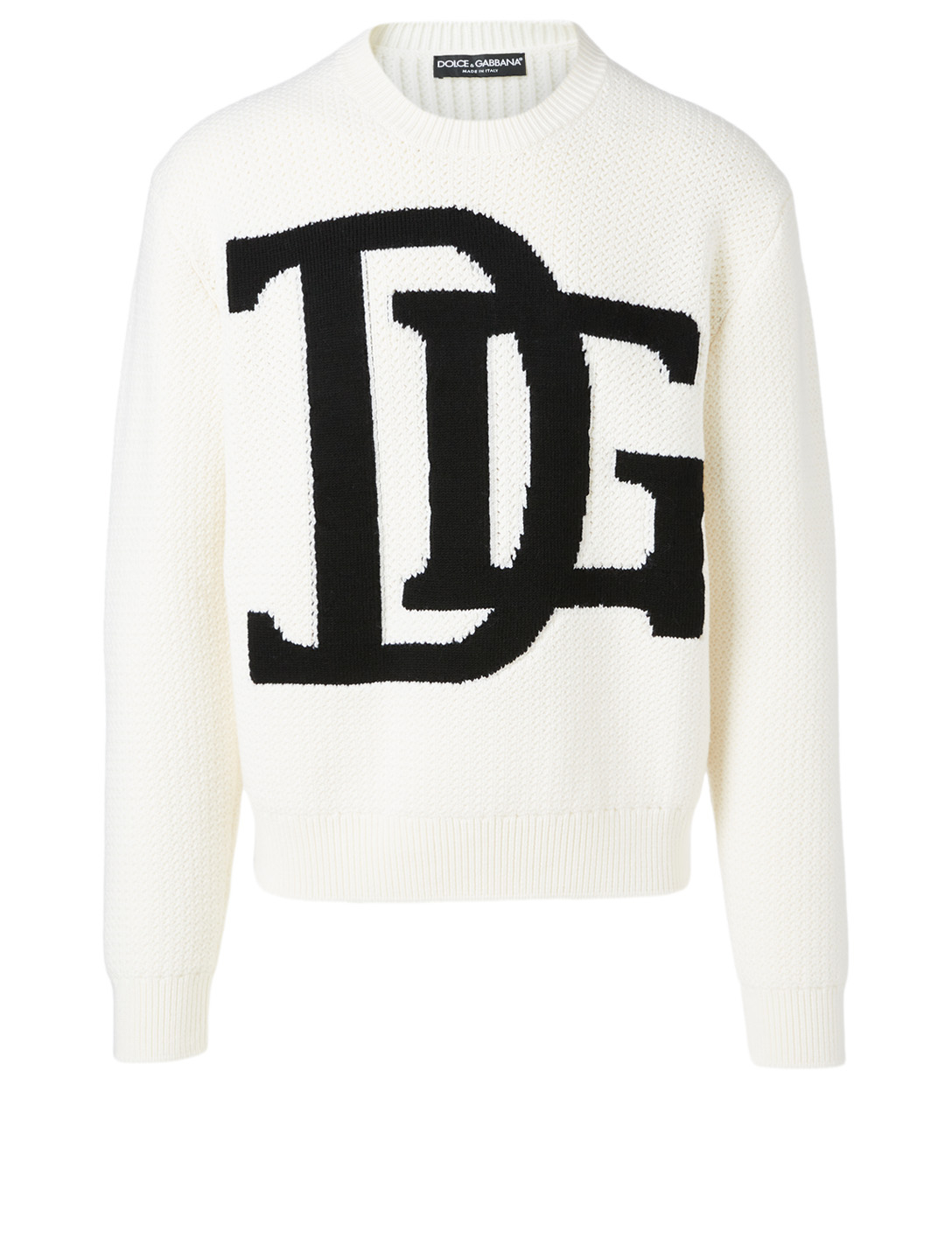 DOLCE & GABBANA Wool Sweater With Logo Intarsia Men's White