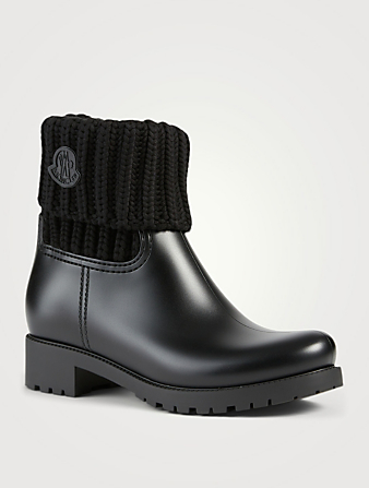 MONCLER Ginette Rubber Rain Boots With Knit Cuff Women's Black