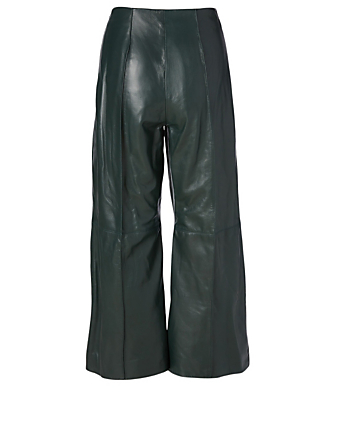 OSCAR DE LA RENTA Leather Cropped Pants Women's Green