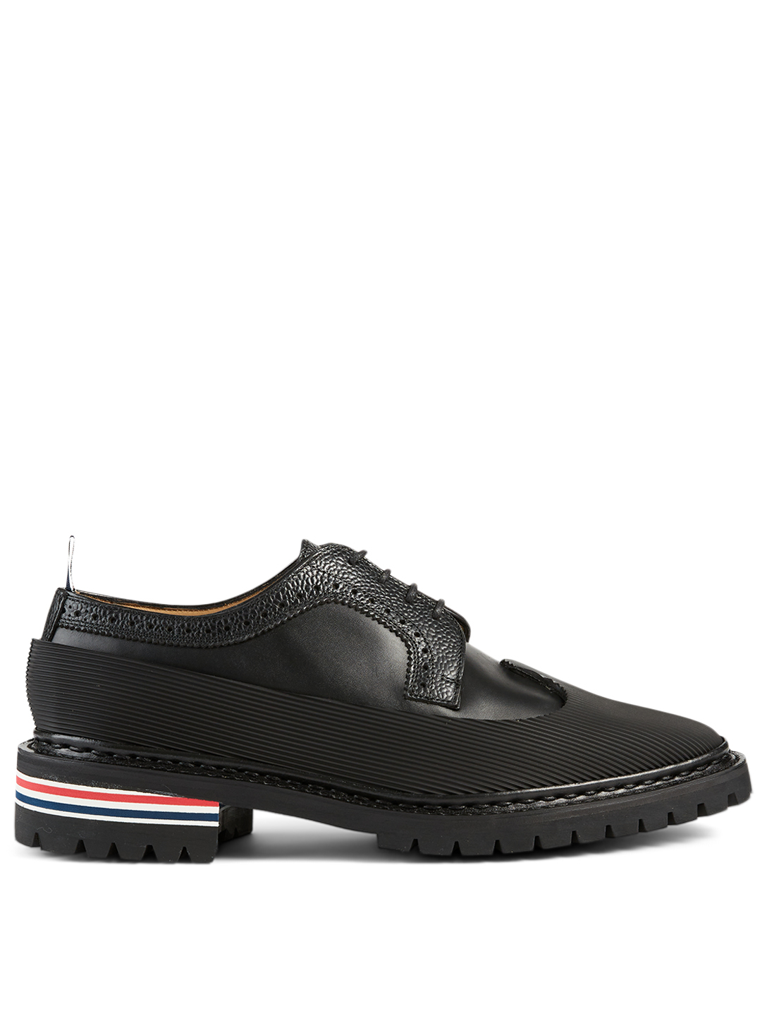 THOM BROWNE Leather Longwing Brogue Lace-Up Shoes Men's Black