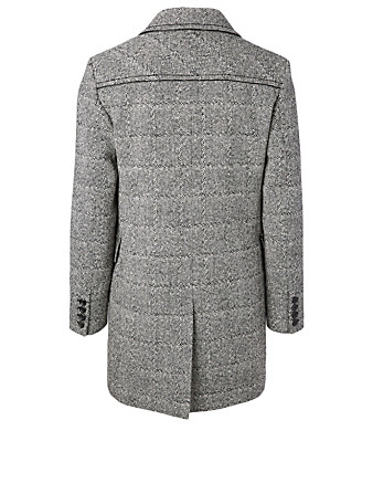 SAINT LAURENT Wool-Blend Double-Breasted Pea Coat In Plaid Print Men's Grey