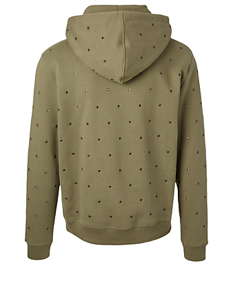 SAINT LAURENT Cotton Logo Hoodie With Eyelets Men's Green