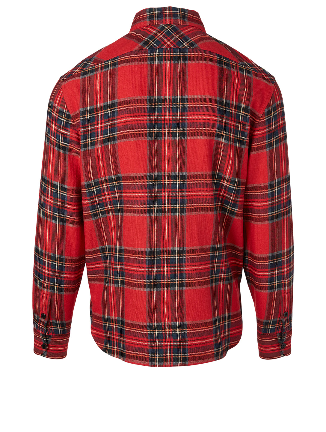 SAINT LAURENT Embroidered Shirt In Tartan Flannel Men's Red