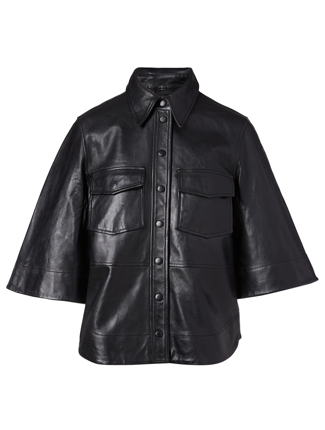 GANNI Leather Buttoned Blouse Women's Black