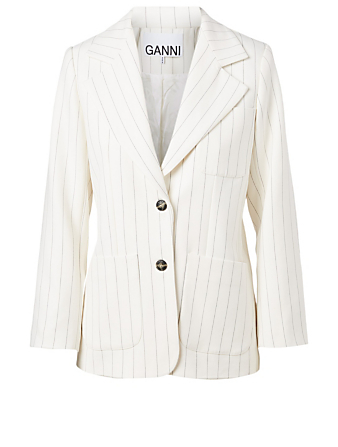 GANNI Patch Pocket Blazer In Striped Print Women's White