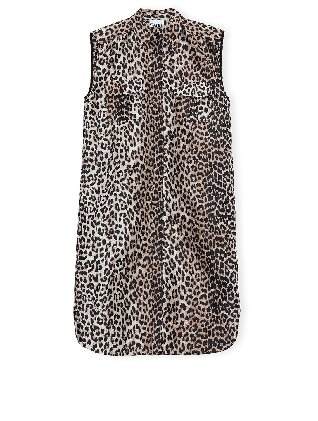 GANNI Sleeveless Shirt Dress In Leopard Print Women's Black