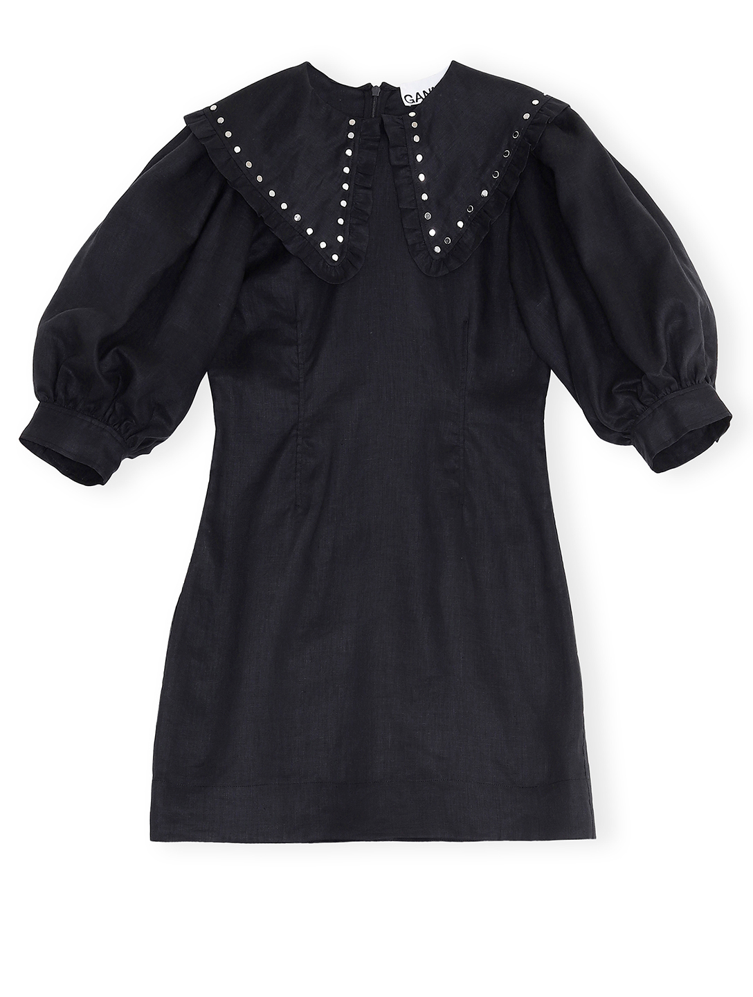 GANNI Linen Bib Mini Dress Women's Black