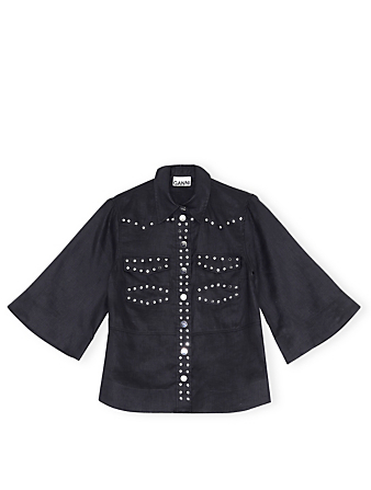 GANNI Linen Buttoned Blouse Women's Black