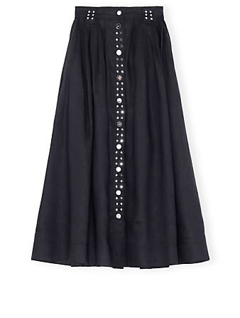 GANNI Linen Midi Skirt Women's Black