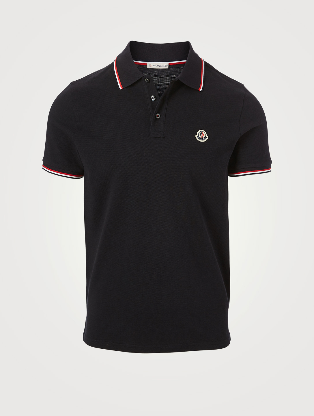 MONCLER Cotton Short-Sleeve Polo Shirt Men's Blue