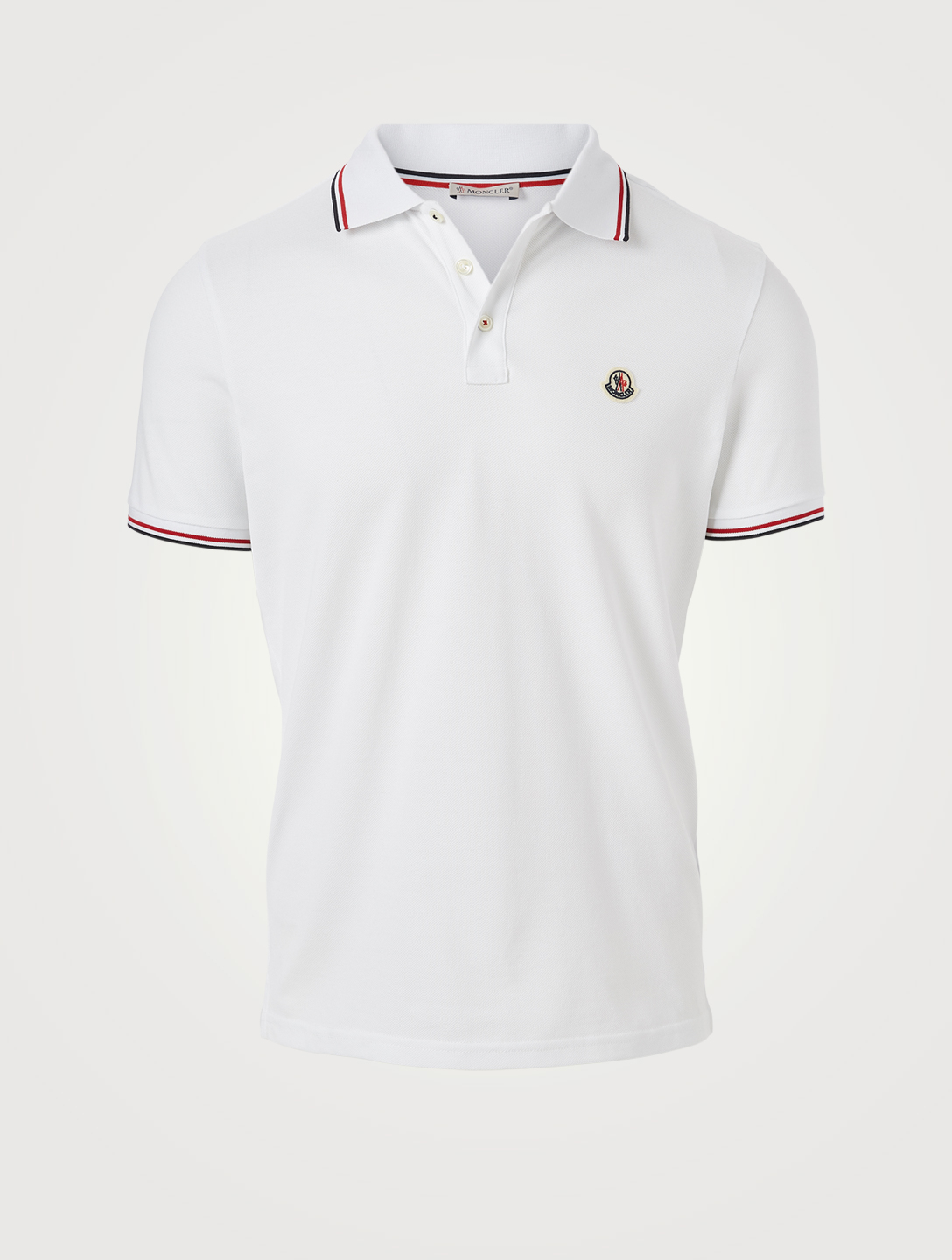 MONCLER Cotton Short-Sleeve Polo Shirt Men's White