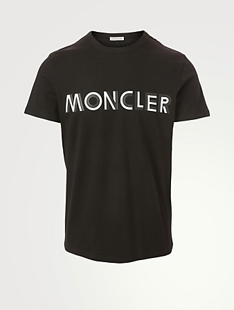 MONCLER Cotton T-Shirt With Typeface Logo Men's Black