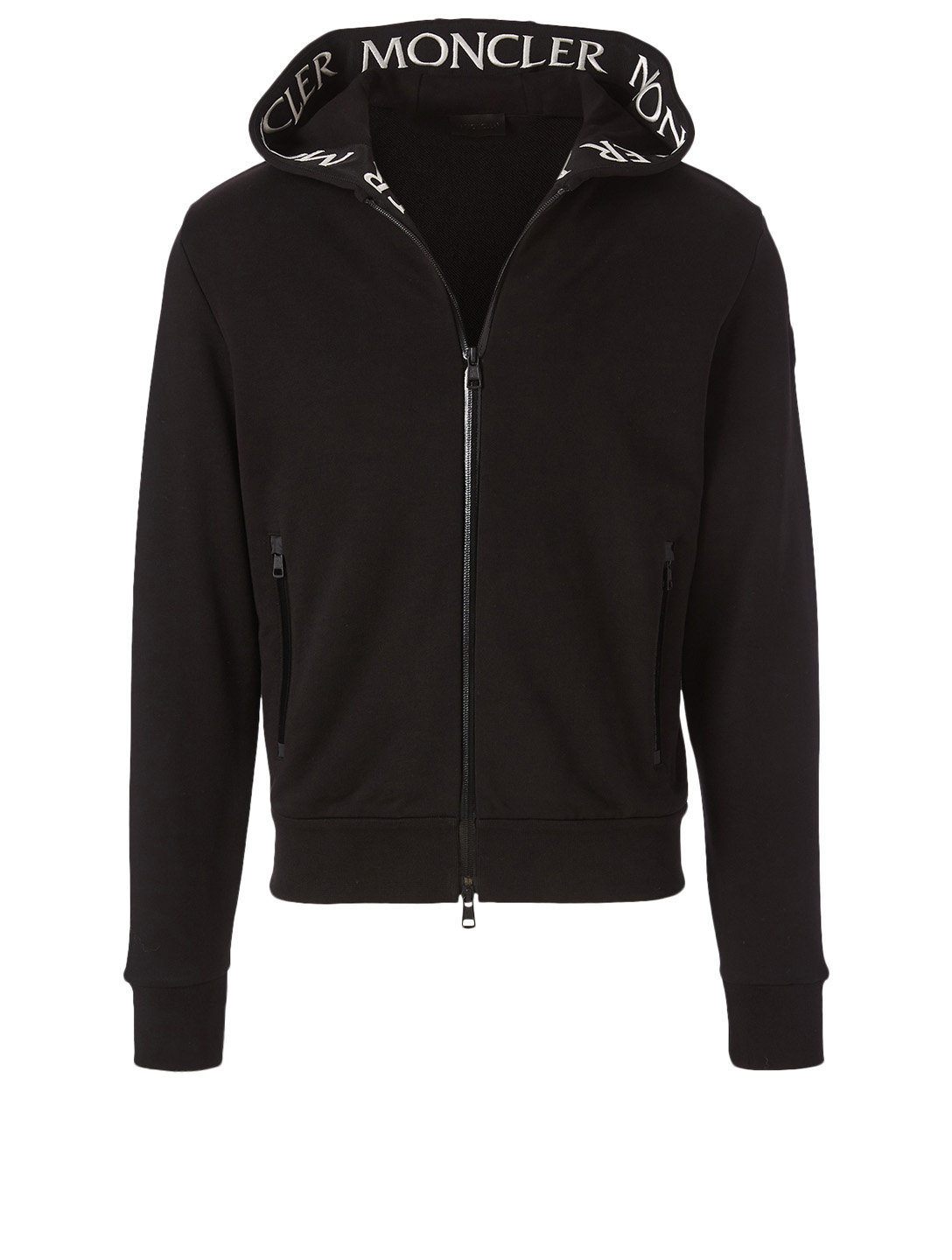 MONCLER Zip Hoodie With Grosgrain Logo Men's Black