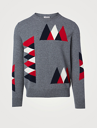 MONCLER Wool And Cashmere Crewneck Sweater Men's Grey