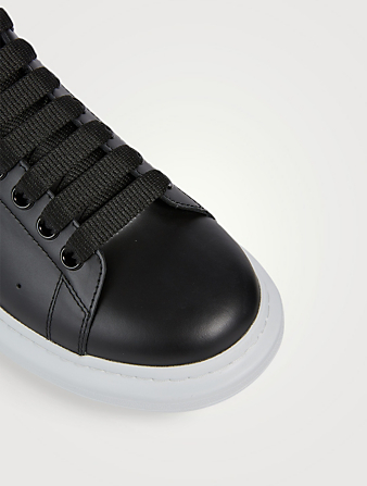 ALEXANDER MCQUEEN Oversized Leather Sneakers With Removable Heel Tab Men's Black