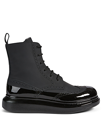 ALEXANDER MCQUEEN Hybrid Leather Brogue Lace-Up Boots Men's Black