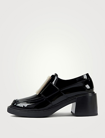 ROGER VIVIER Viv' Rangers 60 Patent Leather Heeled Loafers Women's Black