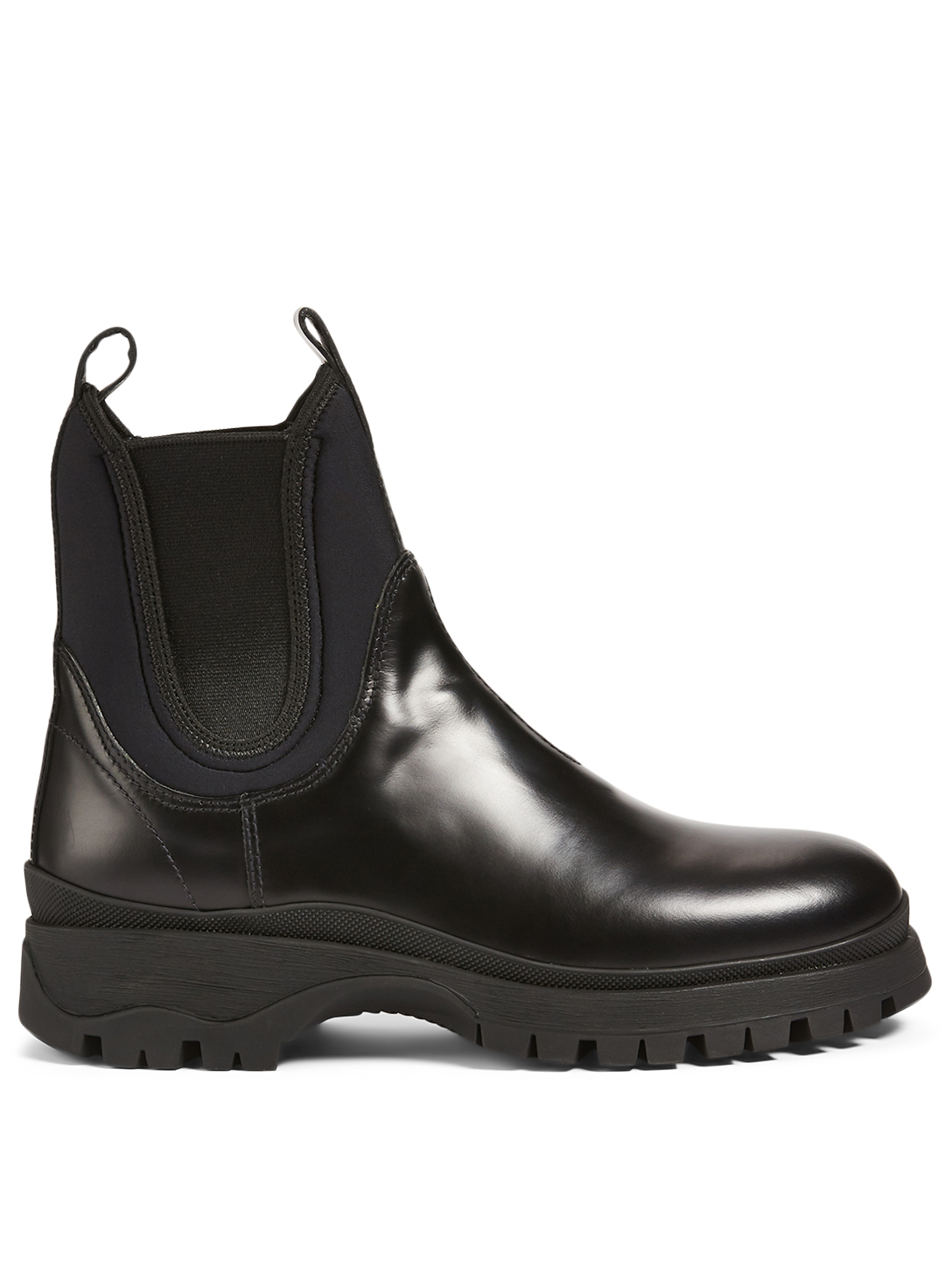 PRADA Leather And Neoprene Chelsea Boots Women's Black