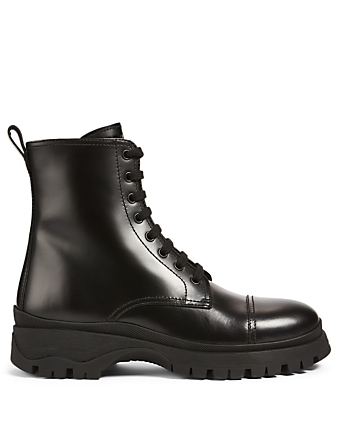 PRADA Leather Combat Boots Women's Black