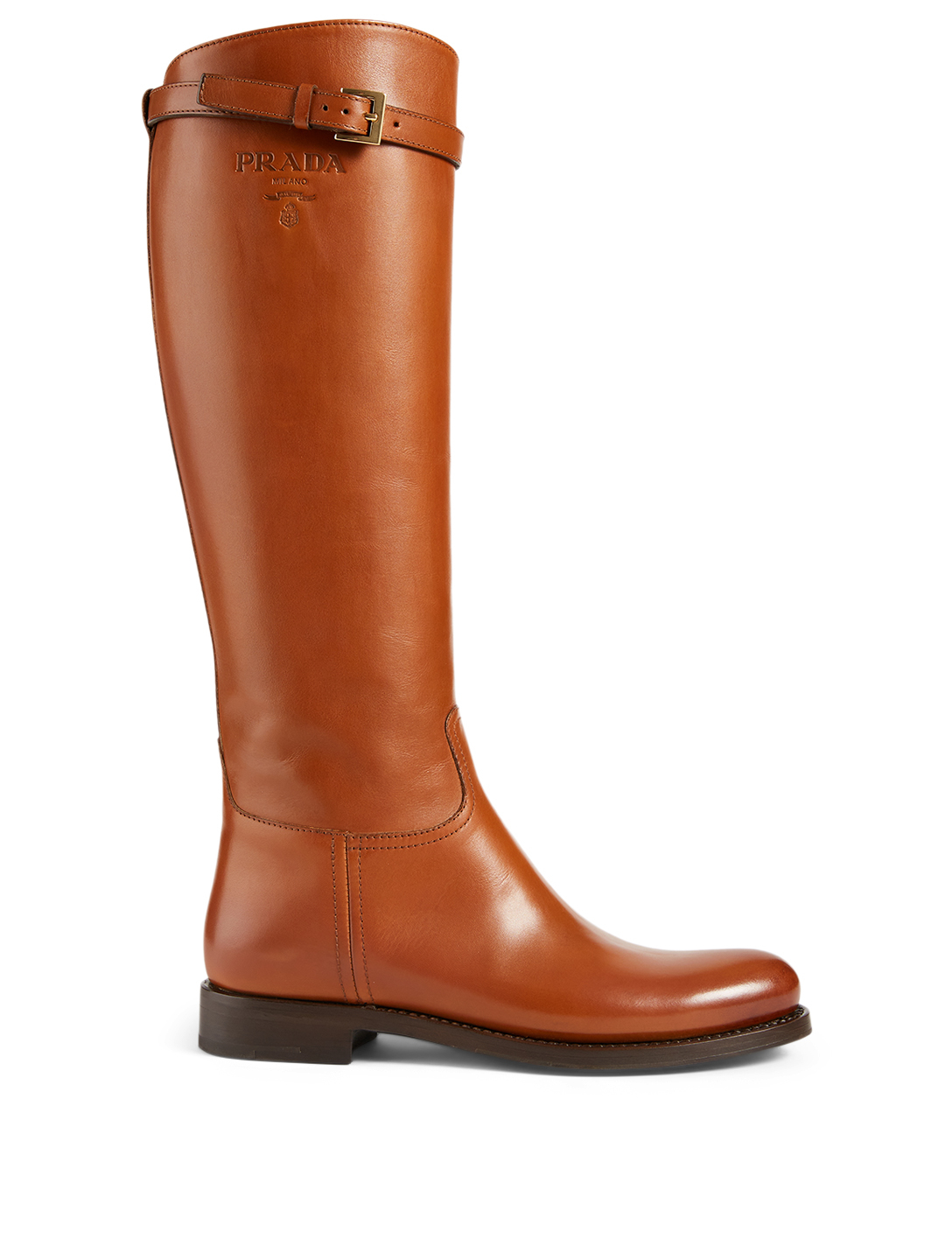 PRADA Leather Knee-High Riding Boots Women's Brown