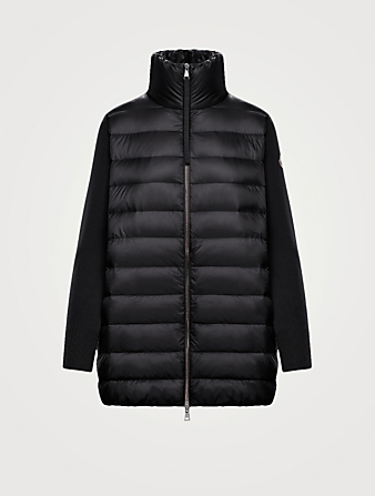 MONCLER Wool Quilted Zip Cardigan Women's Black