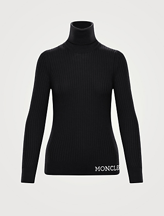 MONCLER Wool Ribbed Turtleneck Top Women's Black
