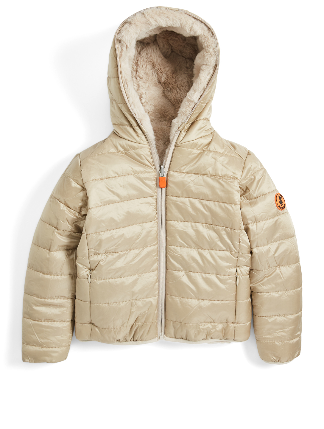 SAVE THE DUCK Kids' Fury Puffer And Faux Fur Reversible Hooded Jacket H Project Beige