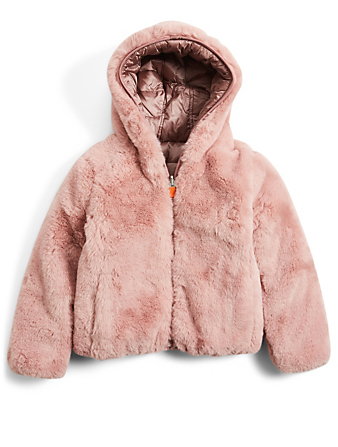 SAVE THE DUCK Kids' Fury Puffer And Faux Fur Reversible Hooded Jacket H Project Pink