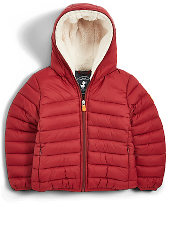 SAVE THE DUCK Kids' Giga Hooded Puffer Jacket With Faux Sheepskin Lining H Project Red