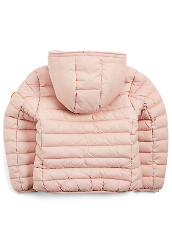 SAVE THE DUCK Kids' Giga Hooded Puffer Jacket With Faux Sheepskin Lining H Project Pink