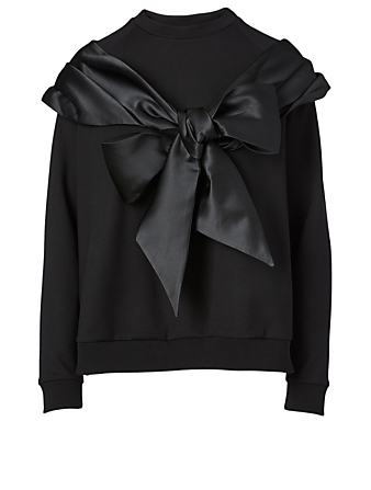 SIMONE ROCHA Satin Bow Sweatshirt Women's Black