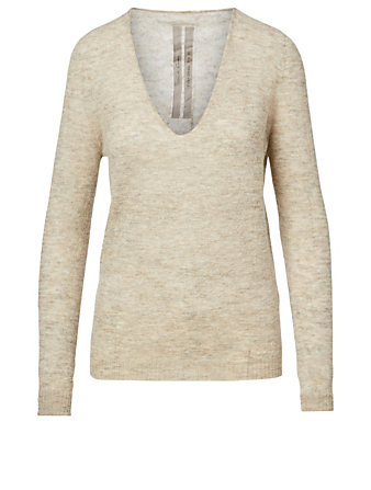RICK OWENS Performa Mohair And Alpaca V-Neck Top Women's Beige