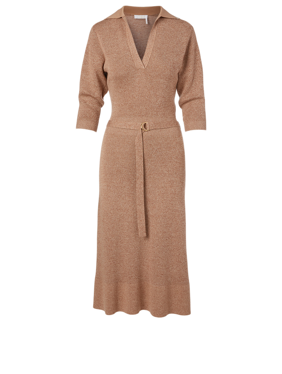 CHLOÉ Wool And Silk Polo Midi Dress Women's Beige