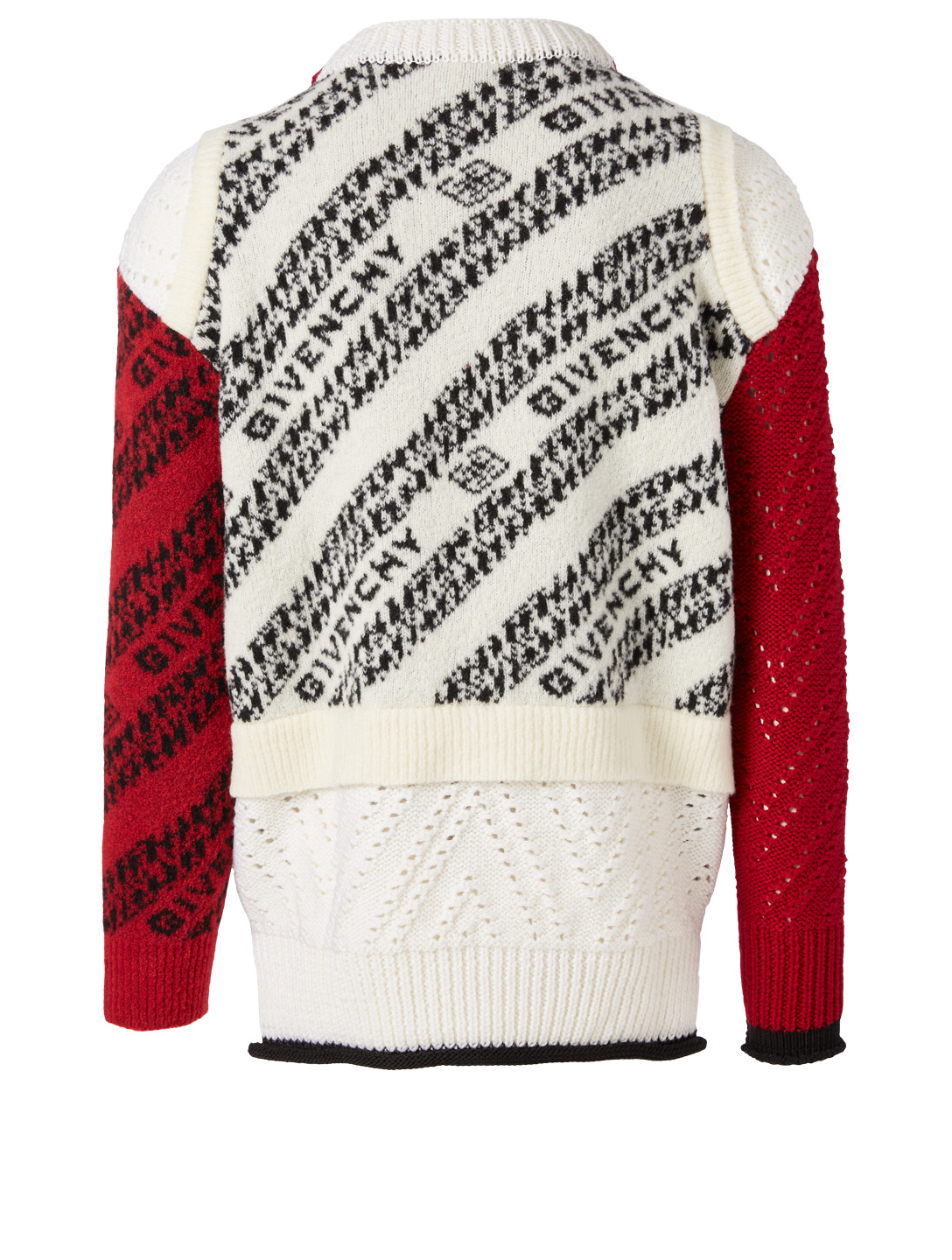 GIVENCHY Wool-Blend Patchwork Sweater In Chain Logo Print Men's Multi