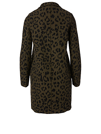 HARRIS WHARF LONDON Wool Cocoon Coat In Leopard Print Women's Green