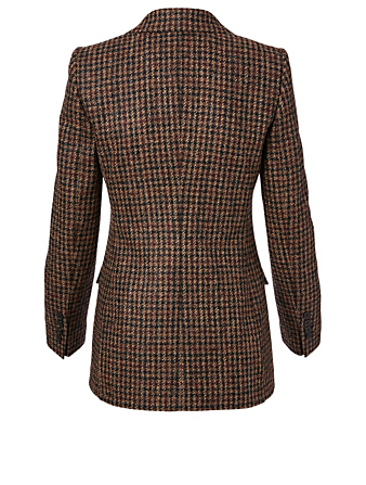 DOLCE & GABBANA Wool And Alpaca Blazer In Houndstooth Print Women's Brown