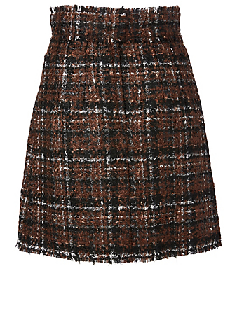 DOLCE & GABBANA Tweed Mini Skirt Women's Brown