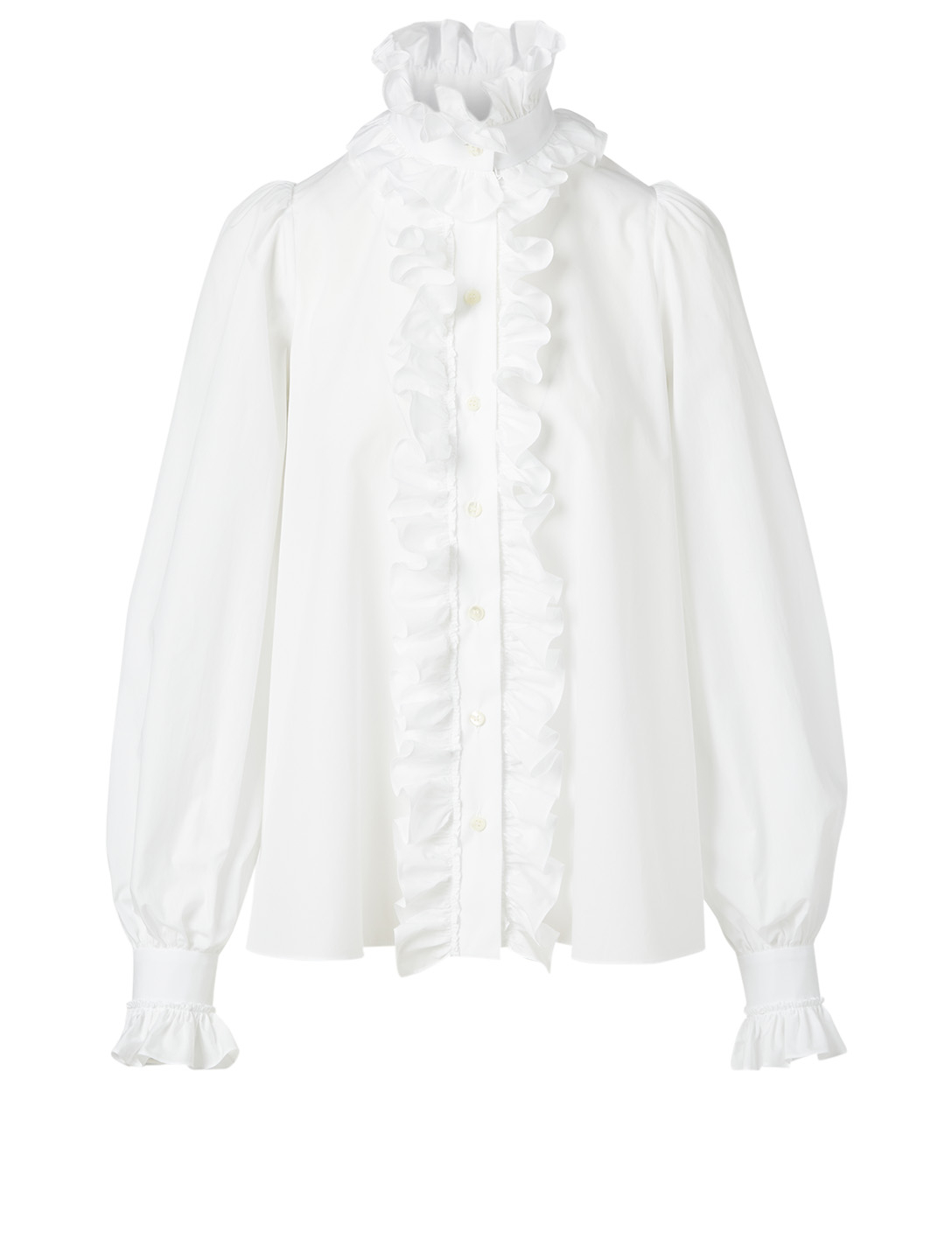 DOLCE & GABBANA Cotton Ruffle Shirt Women's White