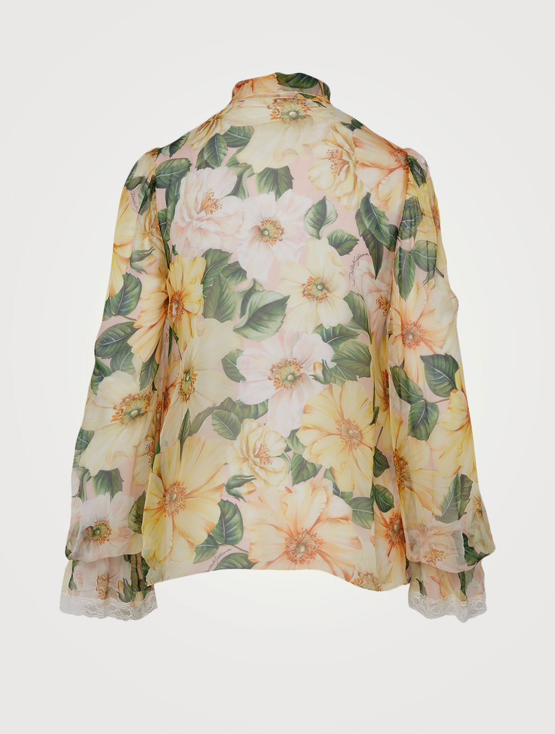 DOLCE & GABBANA Silk-Blend Neck-Tie Blouse In Floral Print Women's Yellow